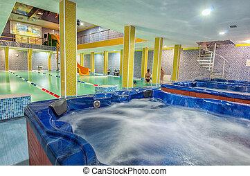 aqua, centro, piscina, natação