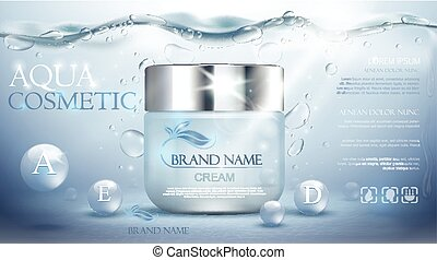 Aqua cream moisturizing cosmetic. Advertising realistic underwater blue template. Skincare promotion. Hydrating facial lotion. Vector illustration