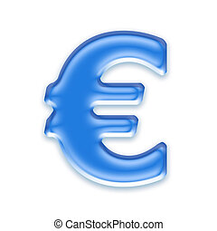 Aqua currency sign isolated on a white background - Euro