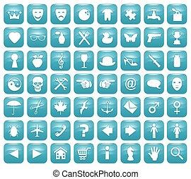 Aqua Downy Icon Set 1 - Illustration of 56 Aqua blue icons