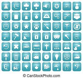 Aqua Downy Icon Set 2 - Illustration of 56 Aqua blue icons