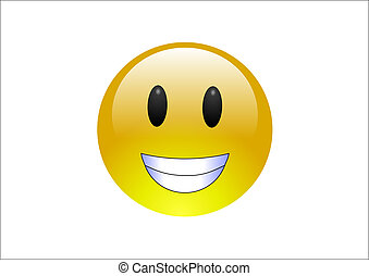 Aqua Emoticons - Grin - A big, round, yelllow emoticon ...