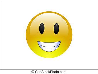 Aqua Emoticons - Grin - A big, round, yelllow emoticon ...