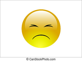 Glossy, yellow emoticon with an expression of pain on its face