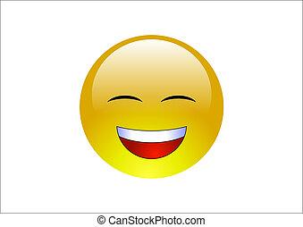 Aqua Emoticons -Laugh 2 - A shiny yellow emoticon laughing