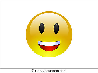 A glossy, yellow emoticon laughing
