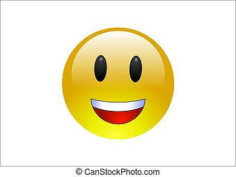Aqua Emoticons - Laughing - A glossy, yellow emoticon...