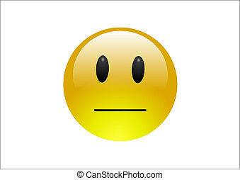 A shiny yellow emoticon with a neutral or blank expression on its face