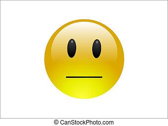 Aqua Emoticons - Neutral - A shiny yellow emoticon with a ...