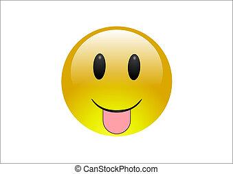 Aqua Emoticons - Tounge - An emoticon pulls a funny face