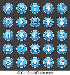 Aqua game buttons - Set of game buttons in aqua style.