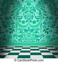 Aqua Green Damask Wallpaper With Black & White Checkerboard Tile Floor