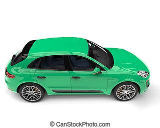 Aqua green modern SUV - top down side view