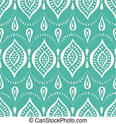 Aqua Handdrawn Lace Pattern with Diamonds and Dots. Classic Elegant Vector Seamless Background