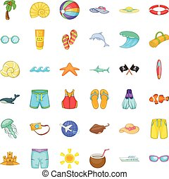 Aqua icons set, cartoon style