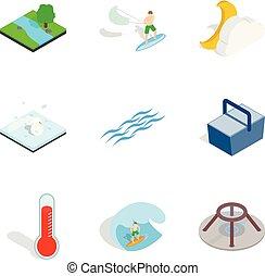 Aqua icons set, isometric style