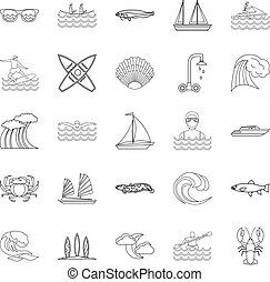Aqua icons set, outline style