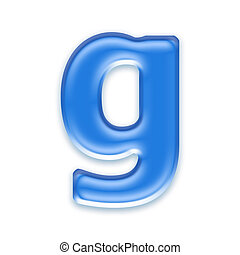 Aqua letter isolated on white background  - g
