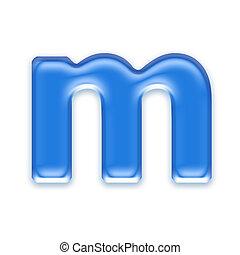 Aqua letter isolated on white background  - m
