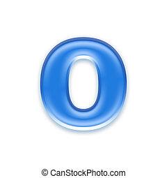 Aqua letter isolated on white background  - o