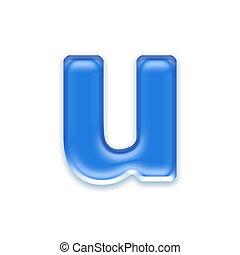 Aqua letter isolated on white background  - u