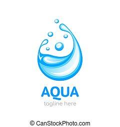 Aqua logo. Design concept of clean water. Water drop symbol, logo template, icon for your design. Vector illustration
