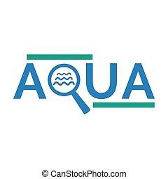 Aqua logo design on white background.