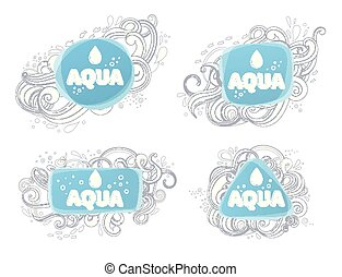 aqua, logotipos, e, emblems.