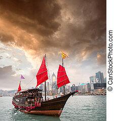 Aqua Luna sailing ship crossing the Hong Kong-Kowloon strait
