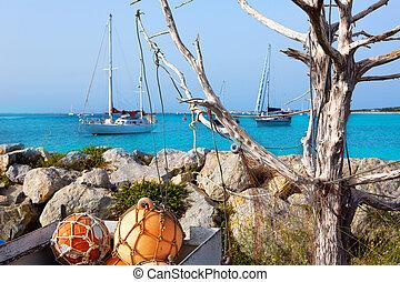 Aqua mediterranean in formentera with sailboats