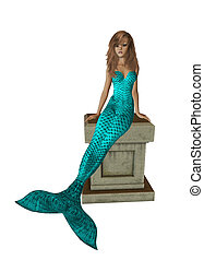 Aqua Mermaid Sitting On A Pedestal - Aqua mermaid sitting on...