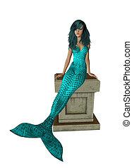 Aqua Mermaid Sitting On A Pedestal - Aqua haired mermaid...