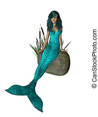 Aqua Mermaid Sitting On A Rock - Aqua haired mermaid sitting...