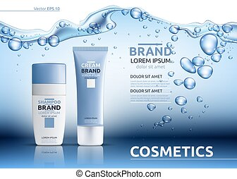 Aqua Moisturizing cosmetic ads template. Hydrating facial or...