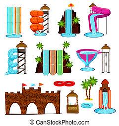 Aqua Park Flat Icons Set