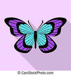 Aqua purple butterfly icon, flat style