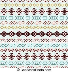 Aqua vector tribal seamless pattern background.