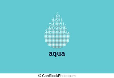 Aqua water logo blue element design vector shape icon symbol business natural company abstract drop wet