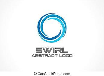 aqua, wir, barwny, segment, ikona, abstrakcyjny, błękitny, wektor, eco, trzy, spirala, zdrój, handlowy, company., logo, idea., concept., logotype, zmieszać, koło, natura, woda, wir