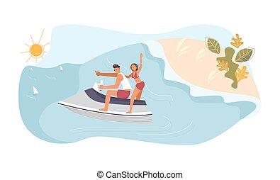 aquabike, homme, course, femme