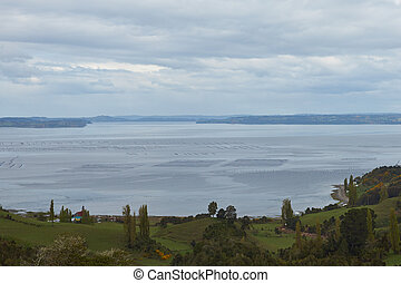 Lush vegetation and fields on the hills above a sheltered inlet filled with the buoys of the aquaculture industry on the small island of Quinchao in the archipelago of Chiloe in Chile.