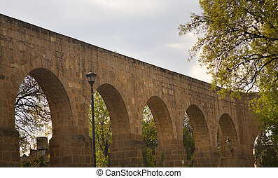 Aquaduct Morelia Mexico Surrounded by Trees This aquaduct...
