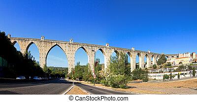 Aquaduct panorama - Beautiful wide angle panorama of the...