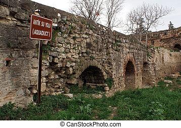 Aquaduct - Old aquaduct andwall in Iznik, Turkey...