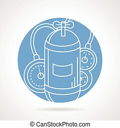 Aqualung blue round vector icon