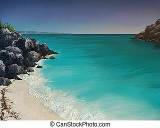 Aquamarine Bay - digital painting of an aquamarine ocean bay...