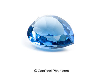 Aquamarine Gems on white background .