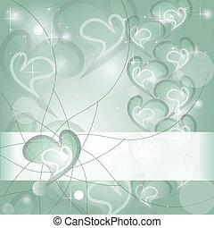 Aquamarine Heart wishing card with shines and headline