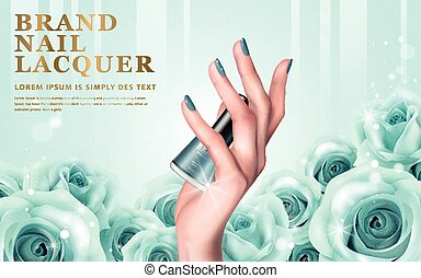 aquamarine nail lacquer ad - delicate hand colorful elements...