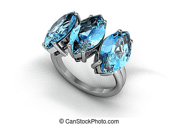 aquamarine ring (high resolution 3D image)